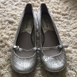 Shoes - Silver metallic wedges